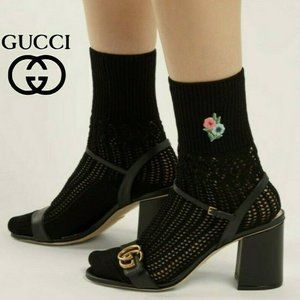 GUCCI Floral Embroidered Black Knit Ankle Sock M
